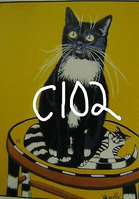 "C102  Original Acrylic Painting By Ljh    ""Tootsie""      Cat"