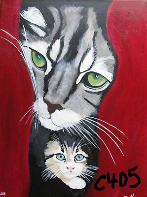 """C405  Original Acrylic Painting By Ljh  """"Behind Curtains-Mom & Kitten"""""""