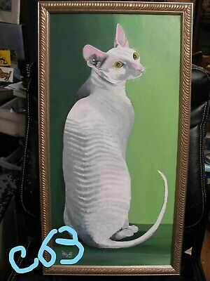 "C63    Original Acrylic Painting By Ljh   ""Daisy""   Cornish Rex    Cat   Kitten"