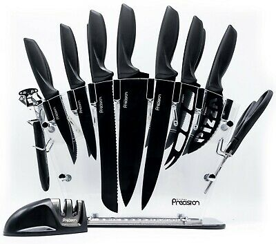 17 Piece KITCHEN PRECISION Knife Block Set w/ Sharpener Cheese Steak Chef Knives