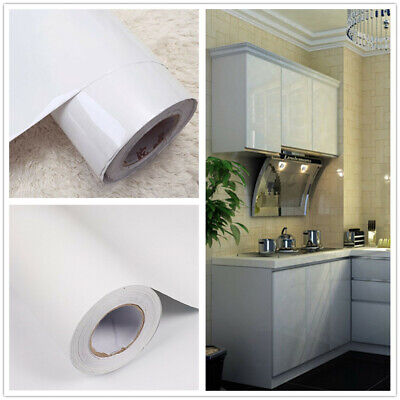 White Self Adhesive Wallpaper Kitchen Furniture Cupboard Vinyl Contact Paper