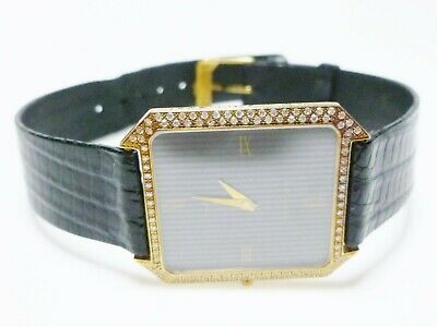 JEAN LASSALE 18K Yellow Gold 1 08Ct Diamond Black Leather Means Wrist Watch