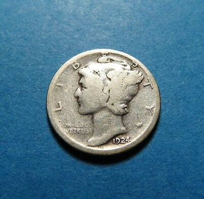 """1924-D  Mercury Dime ~ For Set Or Gift~ """" 90% Silver ~ Combined Shipping Lot 345"""