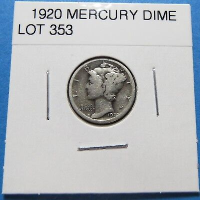 """1920  Mercury Dime ~ For Set Or Gift ~ """" 90% Silver ~ Combined Shipping Lot 353"""