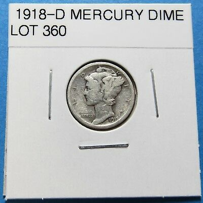 """1918-D  Mercury Dime ~ For Set Or Gift~ """" 90% Silver ~ Combined Shipping Lot 360"""