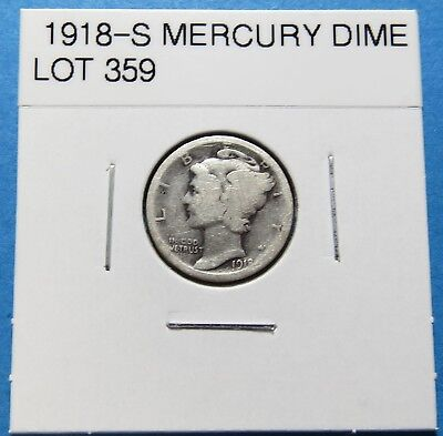 """1918-S  Mercury Dime ~ For Set Or Gift~ """" 90% Silver ~ Combined Shipping Lot 359"""