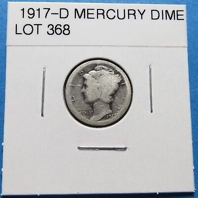 """1917-D  Mercury Dime ~ For Set Or Gift~ """" 90% Silver ~ Combined Shipping Lot 368"""