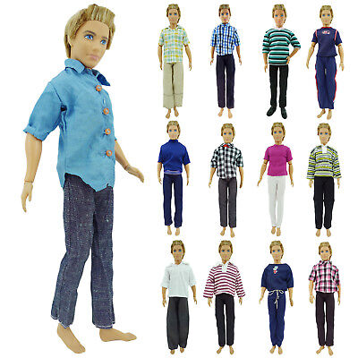 10 Random Men Outfits Shirt Pants Summer Clothes For 12 in. Ken Doll Gift Set 1L