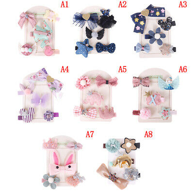 5Pcs/set Lovely kids girls bowknot hair clips barrette hairpin hair accessories