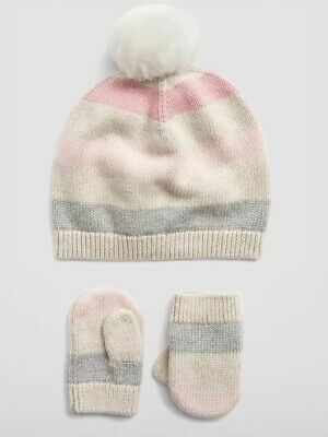Gap Baby Girl Bear Garter Beanie Sweater Hat Pink Multi Stripe Size 0-6 Months