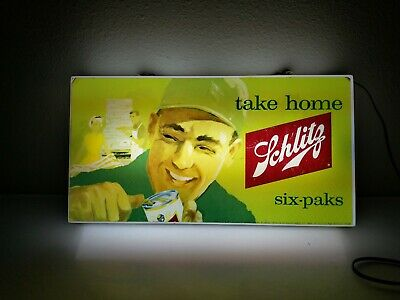 1963 Schlitz Beer Take Home 6 Packs Lighted Wall Sign not Pabst or Hamm's 10x19