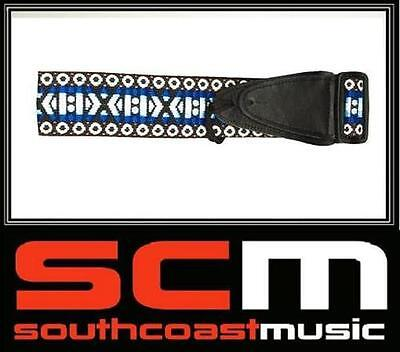 SALE* NEW BLUE 50mm ONYX COTTON GUITAR STRAP w LEATHER TABS ACOUSTIC ELECTRIC
