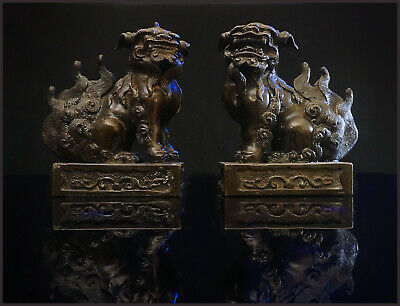 A Pair Of Early 20th C Chinese Bronze Seated Foo Dogs On A Rectangular Base 14 H