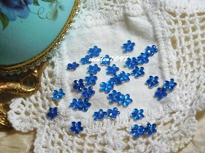 (373)*costume Makers Sellout*flat Back Rhinestones*flowers*deep Blue*new!*