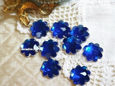 (392)*costume Makers Sellout*flat Back Rhinestones*flowers*royal Blue*new!*