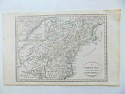 c1780 North America Map Cornelius Paas Genuine Old Antique Carolina New York USA