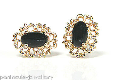 9ct Gold Black Onyx Ornate Stud Earrings Made in UK Gift Boxed Studs Valentine