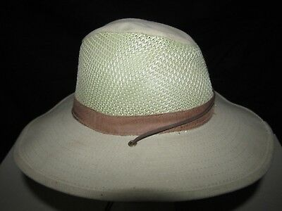 Vintage ORVIS Breezer Sun Hat Size Large Sportsman Tan Outdoors Made in USA e222facb60a1