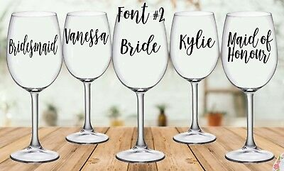 DIY Personalised Wedding Wine/Champagne Glass Decal Sticker (each).