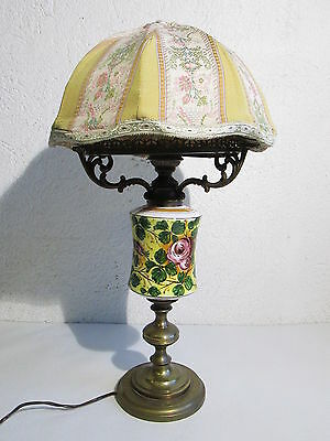 VINTAGE TABLE LAMP 50'S BRASS AND CERAMICS HAND-PAINTED H 54cm