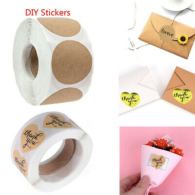 500Pcs/Roll Kraft Handmade Stickers Package Label Sealing Stickers DIY Crafts