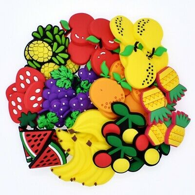 Giveaway Gifts 50pcs All Kinds Of Fruits PVC Shoe Charms For Hole Shoe/Bracelet