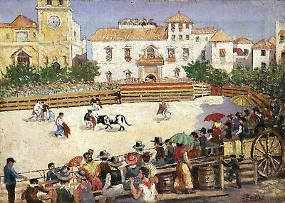 c. 1900 FRENCH IMPRESSIONIST OIL CANVAS BULLFIGHT MATADORS - INDISTINCTLY SIGNED