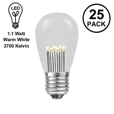 Novelty Lights 25 Pack LED S14 Outdoor Patio Edison Replacement Bulbs, Warm E26