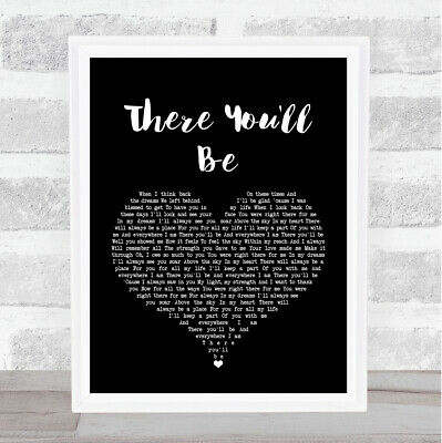 There You'll Be Black Heart Song Lyric Quote Print