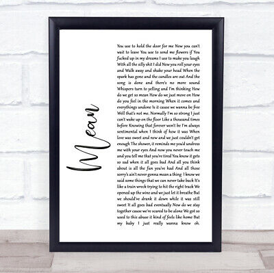 Mean White Script Song Lyric Quote Print