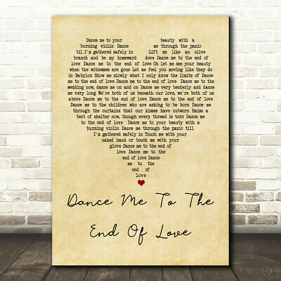 Dance Me To The End Of Love Vintage Heart Song Lyric Quote Print