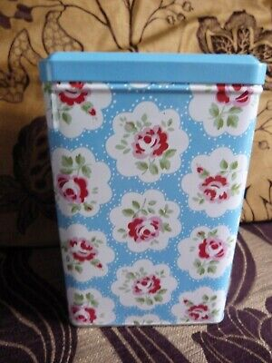 Cath Kidston Blue Provence Rose Tin New unused +stickers 7 inches tall