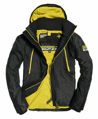New Mens Superdry Hooded Polar SD-Windattacker Jacket Black Grit