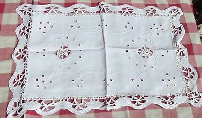 Vintage French Altar Cloth embroidered Mat Handmade Madeira lace Doily Runner