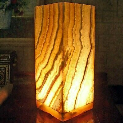 Egyptian Alabaster Table Accent Lamp ~ Natural Glow Ambiance UpLight ~ Handmade