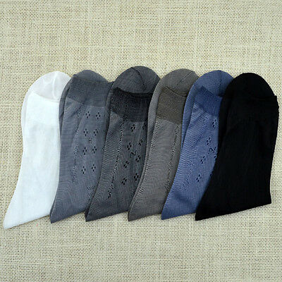 NEW 10 Pairs Mens Bamboo Charcoal High Ankle Sock Pure Color Sheer