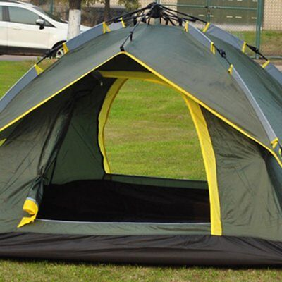 3-4 Person Outdoor Waterproof Fold Automatic Rope Pulling Tent Double Layers A0