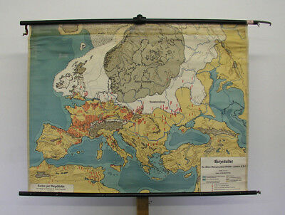 Beautiful Old Schulwandkarte Ice Age Ice Age Vintage Wall Map ~ 1934 126x96cm