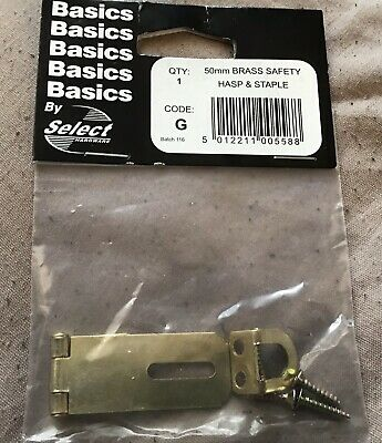 2x Small Solid Brass Hasp and Staple Catch Latch Cabinet Lock Drawer Catch  50mm