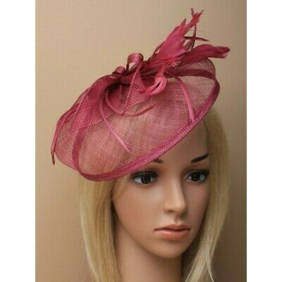 Fascinator Hat Cranberry on Slim Aliceband, Wedding Races Ascot Fashion, Hat