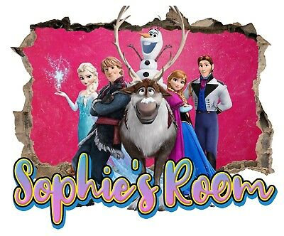 Personalised Any Name Frozen Wall Decal 3D Art Stickers Vinyl Room Bedroom 11