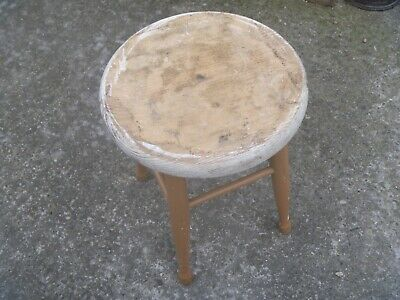 "Vintage Pine Painted 4 Legged Stool...16"" high x 12.5"" dia"