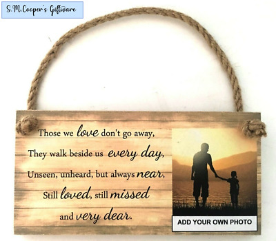 Personalised Photo Bereavement Remembrance Memorial Poem Quote Plaque Sign Loved