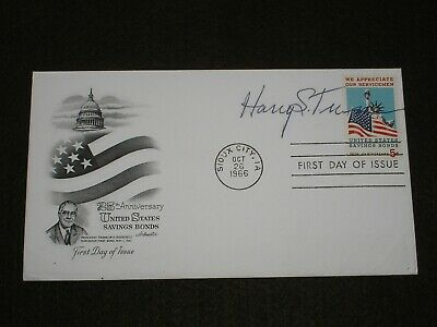 1966 UNITED STATES Stamps President HARRY S TRUMAN SIGNED Savings Bonds FDC USA