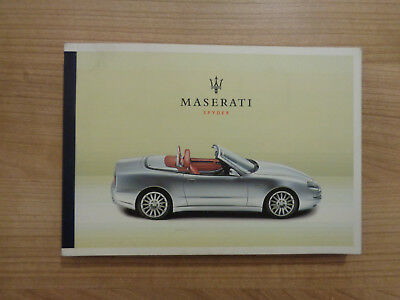 Maserati Spyder Owners Handbook Manual