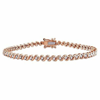 Miadora 1/2ct TDW Diamond 'S' Style Tennis Bracelet in Rose Plated Sterling