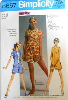 VTG Simplicity Pattern 8667  Jr. Petites/Misses Shorts Jumper Pantdress Size 12