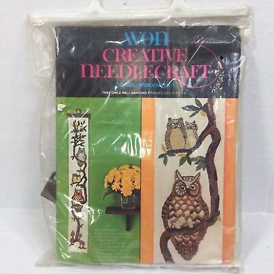 Tree Owls Wall Hanging Crewel Embroidery Kit Avon 40 X 16 Inches Wool Vintage