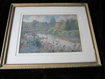 Lovely Old 1930's Art Deco Style Watercolour Painting Riverscape Figures Framed