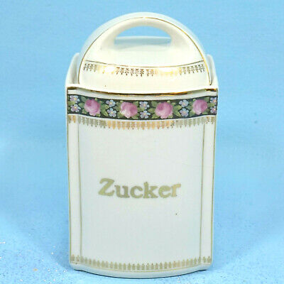 Antique German Porcelain Kitchen CANISTER SUGAR ZUCKER Roses Black/Gold c1900